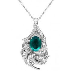 Gemma White Gold Emerald & Diamond Pendant,