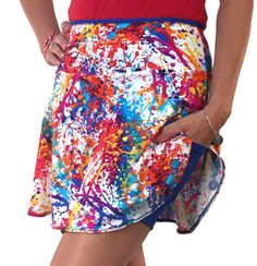 """Make a happy splash in this colorful number! The medium-weight skirt is highlighted by intense royal blue undershorts which feature our 5X5"""" leg pockets and a double-layer patent-pending crotch gusset for added comfort. Don't forget the 12"""" zipper pocket in the waistband for carrying your valuables!"""