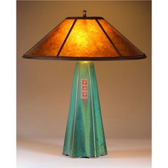 Sweetheart Gallery: Contemporary Craft Gallery, Fine American Craft, Art, Design, Handmade Home & Personal Accessories - Jim Webb Studio 233 Six Sided Moss Glaze Table Lamp Hopewell Collection with Amber Mica Shade