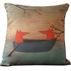 """Fox Boating Cartoon Style Handmade Cotton Linen Sofa Decor Throw Pillow Covers Pillowcase Sham Decor Cushion Cover Slipcovers Square 18 Inch 18"""" Only Cover No Insert"""