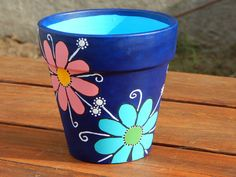 Puntillismo - My site Flower Pot Art, Flower Pot Design, Clay Flower Pots, Flower Pot Crafts, Clay Pot Crafts, Clay Pots, Painted Plant Pots, Painted Flower Pots, Painted Pebbles