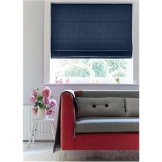 Chambray Roman Blind in Navy