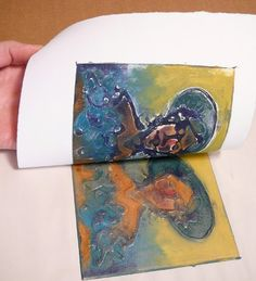 Collograph print: cardboard plate with glue, dried and  colored ink applied. Step by step instructions on site very helpful. This is on my list.