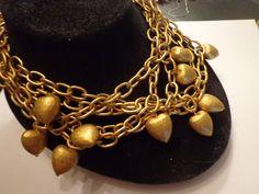 Vintage Gold Tone Heavy Anne Klein Signed Multi Strand Heart Necklace 17  | eBay