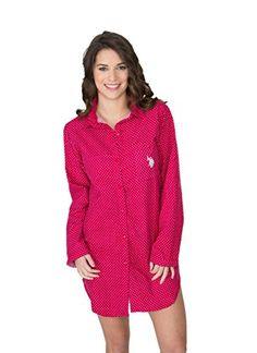 50ad8c395e US Polo Assn. Women s Button Down Long Sleeve Cotton Flannel SleepShirt –  Women s Stylish Lingerie and Accessories