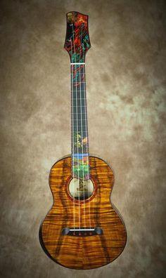 Chuck Moore builds hand crafted custom ukuleles on the Big Island of Hawaii using locally grown koa and native woods. Ukulele Instrument, Ukulele Songs, Music Instruments, Half Elf Bard, Cool Ukulele, Banjo, Big Island, Music Stuff, Fleas