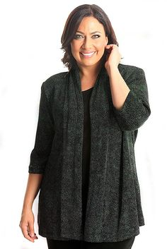 Vikki Vi Classic Northern Lights 3/4 Sleeve Kimono Jacket A great plus size piece for your holiday party.