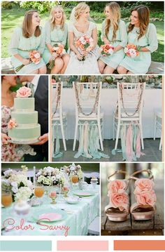 Pretty Mint Green wedding decorations and color scheme. Love the peach/coral accent colors