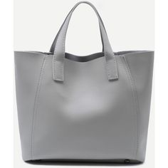 SheIn(sheinside) Grey Faux Leather Tote Bag With Crossbody Bag ($20) ❤ liked on Polyvore featuring bags, handbags, tote bags, handbags totes, grey tote bag, tote purses, cross-body handbag and vegan purses
