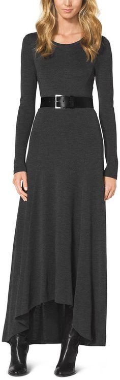 MICHAEL Michael Kors  Belted Slub Elliptical Maxi Dress
