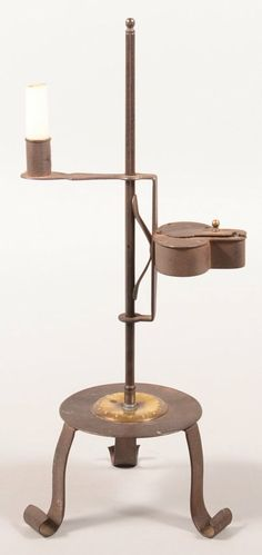 Wrought Iron Combination Lamp Stand. Adjustable betty : Lot 591