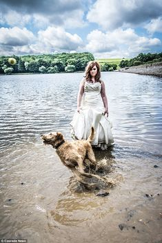 Rachael Snape is photographed for a Trash the Dress shoot celebrating her wedding day as her gown is ruined