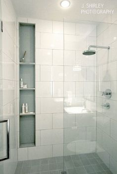 These 20 Tile Shower Ideas Will Have You Planning Your Bathroom Redo Jazz up shower time with some extra style and vision. These 20 tile shower ideas will have you planning your bathroom redo and renovation in no time. Bathroom Remodel Shower, Bathroom Shower Tile, Bathroom Makeover, Shower Room, Bathroom Interior, Modern Bathroom, Bathroom Renovations, Bathrooms Remodel, Bathroom Redo