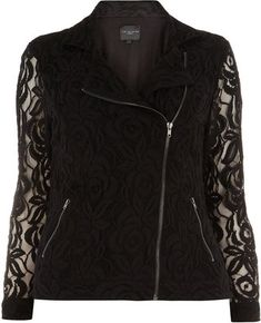 Live Unlimited Black Lace Biker Jacket -Trendy Plus Size Fashion for Women: Autumn Jackets