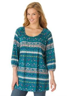 """Knit top in tunic-length knit with pintucks, floral print   Plus Size 30"""" long   Woman Within"""