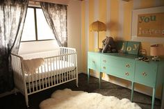 turquoise and yellow nursery. perfect gender neutral color palette.