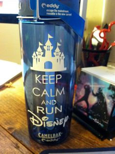 Keep Calm and Run Disney Water Bottle Blue 24 oz by MouseEarsandMe, $25.00