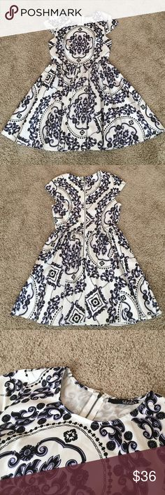 """Lulu's Royal Luxe Ivory Print Dress Only worn once by previous owner. I am in love with this dress but have to re-posh because it is a little too short on me at 5'9"""". In perfect condition! Lulu's Dresses Mini"""