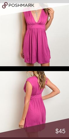 COMING SOON!!! Comfortable magenta sleeveless mini dress. Deep V-neckline. 96% rayon 4% spandex. Made in the USA. * measurements coming soon* Boutique Dresses Mini