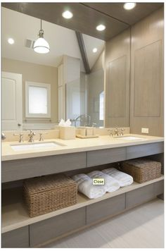 Guest bath - love the grey and beige... perhaps a textured natural fiber wallpaper