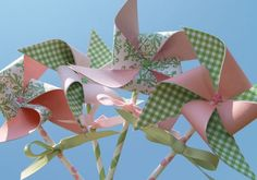 Pink and Green Damask and Gingham Paper Pinwheels on Paper Straws