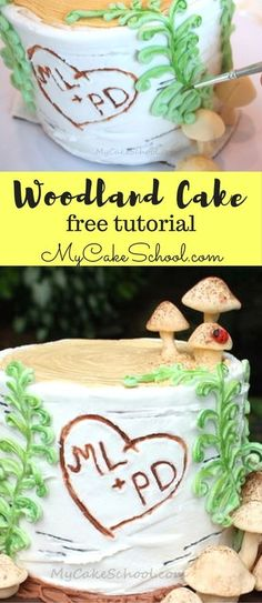Free Cake Tutorial for a beautiful woodland themed cake! This cake features a buttercream birch tree stump. With the carved initials, this would make a fabulous anniversary cake or even a wedding tier for a rustic wedding cake. #woodlandcake #stumpcake #birchcake #rusticcake