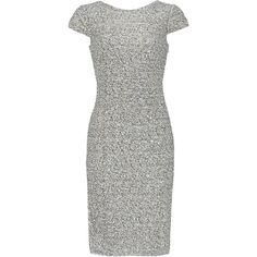 Rental Badgley Mischka Silver Swank Sequin Sheath ($65) ❤ liked on Polyvore featuring dresses, fitted dresses, fitted sequin dress, boat neck dress, cap sleeve dress and boatneck dress