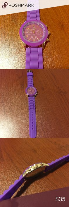 Ladies Purple Octavia Watch: Brand New 38 MM Case, with a Purple & Gold case cover. Purple Face & Bezel, High Density, Eco-Friendly Silicon. Water-Resistant (NOT waterproof!) octavia Accessories Watches