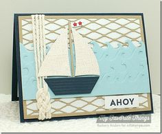 Card nautical - sailboat die - Ahoy - fishnet background die - kort nautisk maritimt - Karte maritim