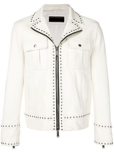 New Handmade Men Versace H&M,Silver Studded Biker White Leather Jacket #Handmade #studded
