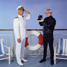 """"""" Captain Merrill Stubing (Gavin MacLeod) shares the deck with Andy Warhol on the set of The Love Boat. Andy Warhol, Pittsburgh, Pop Art, Lauren Tewes, Rap Us, 70s Tv Shows, Love Boat, Arte Pop, Cultura Pop"""