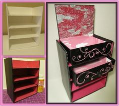 Foam board, Scrapbook paper, Mod Podge, Bling, & GLITTER baaaby! A make-up organizer for beauty samples & more! @foureaves