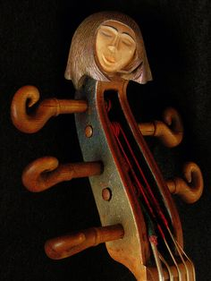 Violin carved head stock