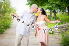 So cute! Plan ahead during your engagement shoot for your thank you cards! Your guests will love it #wedding #weddingideas #weddingtips #engagement #engaged #engagementphoto #weddingphoto #thankyou #thankyoucards #wedding #love #creative #his #hers #husband #wife #bride #groom #happy #kiss #couple #weddingphotography #torontowedding #weddingphotographer #digitaldreamproductions Photography by: Digital Dream Productions