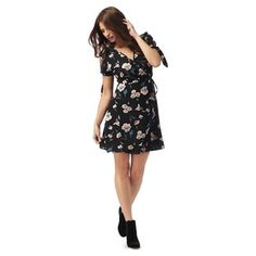 Red Herring Black floral print dress | Debenhams
