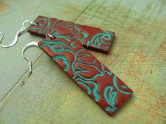 Polymer Clay Jewelry Long Dangle Copper Earrings With Hand Stamped Flower Image Asian Inspired Copper And Turquoise Verdigris Patina