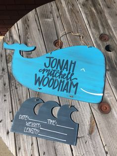 Whale With Waves // Hospital Door Hanger // Fortheglorydesigns On Etsy