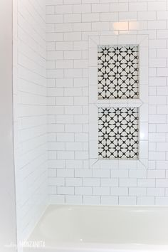 Shower Tile Installation Tips & Tricks I think my favorite part of the entire modern farmhouse bathroom renovation so far is our cute little shower niche. The cement tile on the back of the shower niche adds so much character, don't you think! Bad Inspiration, Bathroom Inspiration, Douches Subway Tile, Diy Tuiles, Douche Design, Modern Farmhouse Bathroom, Farmhouse Decor, Shower Shelves, Diy Shower