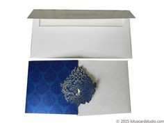 White and Blue Theme Wedding Card - WC_85