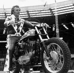Evel Knievel, The red-white-and-blue-spangled motorcycle daredevil jumped over crazy obstacles such as Greyhound buses, live sharks and Idaho's Snake River Canyon, making him an international icon in the Snake River Canyon, American Gladiators, Flat Track Motorcycle, Motorcycle Art, California Dreamin', Cycling Art, Daredevil, Back In The Day, Stunts