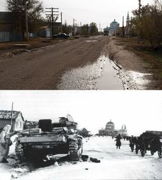 Karpovka (33 km west of Stalingrad) now, and then.  Alexander Skvorin made this photographic comparison.