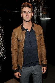 Chace Crawford pulling off a leather sport jacket