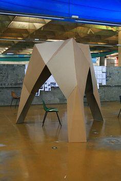 cardboard Cardboard Box Houses, Cardboard Paper, Cardboard Furniture, Paper Installation, Installation Architecture, Folding Structure, Temporary Architecture, Origami Lamp, Cardboard Design