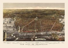 Antique Map of Brooklyn c1879 by Currier and by BlueMonoclePrints, $38.00