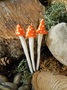 3 ceramic mushroom miniatures 3 Orange Poison.. ..  terrarium or miniature…