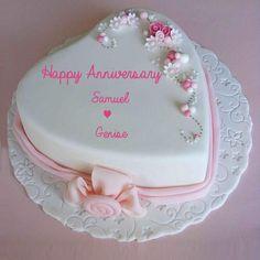 Write Name on Marriage Anniversary Heart Love Cake