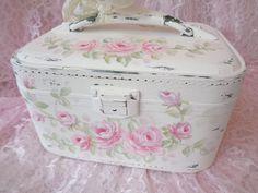 ROMANTIC CHIC TRAIN CASE hp roses shabby vintage cottage hand painted luggage  #VINTAGETRAINCASELUGGAGE