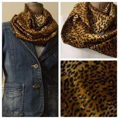 Lightweight gold leopard print infinity scarf, $20 @ etsy.com/shop/momandmestitch