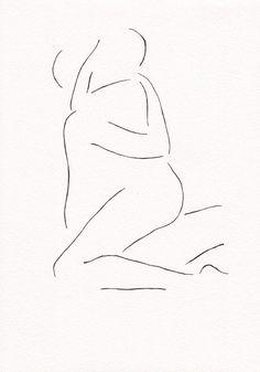 Black and white original ink drawing. Erotic bedroom art. Lovers illustration…