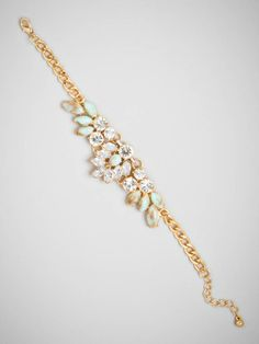 We're mad for the sweet mix of pale azure stones and bright crystals this bracelet boasts.  Dress it up or dress it down for a look that's pure vintage sophistication.